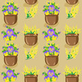 Free Seamless Pattern With Flowerpots Royalty Free Stock Photos - 30668218