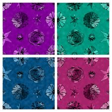 Free A Set Of Seamless Fabric Textured Floral Patterns Against Matching Solid Color Backgrounds Stock Images - 30670484
