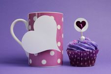 Free Mauve Purple Decorated Cupcake With Pink Polka Dot Coffee Mug Royalty Free Stock Image - 30672966