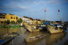 Free Ancient Town Viewed From The River With Fisfingboats At Foregrou Stock Photography - 30675392
