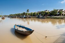 Free Rowboat On The River With The Ancient Town At Background Stock Photography - 30675842