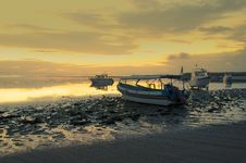 Free Motorboats On The Beach Of Nusa Dua At Sunrise Stock Photo - 30675880