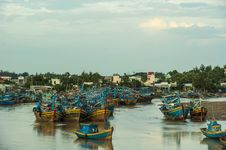 Fishing Boats Docked In Harbor Royalty Free Stock Photos