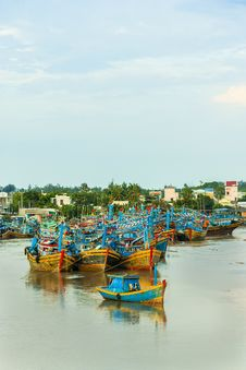 Fishing Boats Docked In Harbor Stock Image