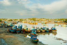 Fishing Boats Docked In Harbor Royalty Free Stock Images