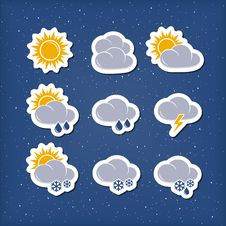 Free Weather Forecast Icons Royalty Free Stock Images - 30677229