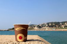 Free Paper Cup Of Coffee On The Beach Royalty Free Stock Photography - 30678817