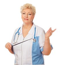 Free Senior Women With Stethoscope And Pointer Stock Images - 30680434