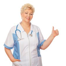 Free Medical Doctor Woman Shows Thumb Stock Photos - 30680453