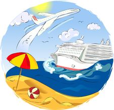 Illustration With Plane And Liner Royalty Free Stock Photo