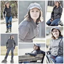 Natural Looking Girl Roller Skating In The Park Stock Images