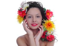 Free Woman With Flowers Royalty Free Stock Photo - 30688575
