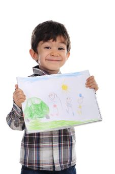 Free Litte Boy Is Holding His Picture Royalty Free Stock Image - 30688726