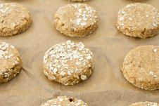 Free Raw Oatmeal Cookie Dough On A Baking Sheet Royalty Free Stock Images - 30690139