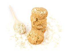 Oatmeal In The Wood Spoon And Cookies Stock Images