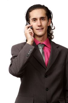 Businessman Talking By Phone Royalty Free Stock Image