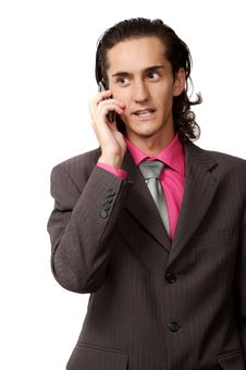 Businessman Talking By Phone Stock Photo