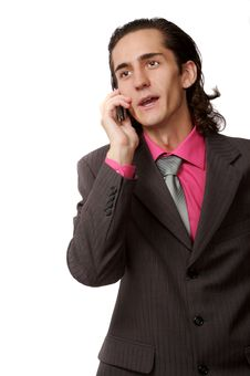 Businessman Talking By Phone Royalty Free Stock Photography