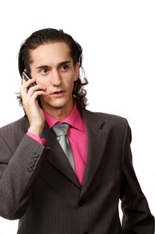 Businessman Talking By Phone Royalty Free Stock Photo