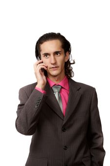 Businessman Talking By Phone Stock Photography