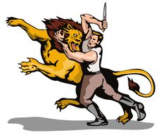 Free Man Fighting A Lion Stock Photography - 3073262