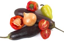 Free Eggplant, Pepper, Onions Stock Photography - 3075432