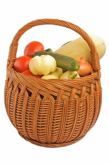Various Vegetables In A Basket Royalty Free Stock Photography