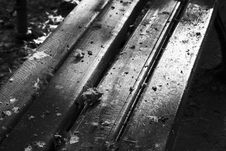 Park Bench Black And White Royalty Free Stock Image