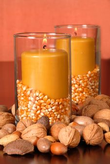 Free Candle In An Autumn Setting Stock Images - 3079614
