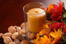 Free A Candle In An Autumn Setting Royalty Free Stock Image - 3079646
