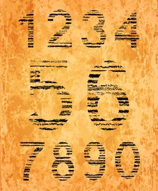 Number Set From Black Coal Texture Royalty Free Stock Photo