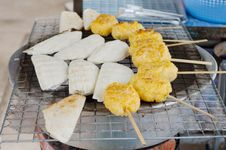 Sticky Rice Grill On A Charcoal. Royalty Free Stock Image
