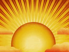 Grunge Sun With Rays And Clouds Royalty Free Stock Photos