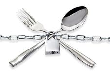 Free The Spoon And Fork With A Chain And Padlock Stock Images - 30706454