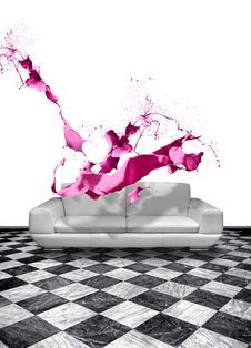 Free Pink Paint Splash White Leather Sofa Stock Photography - 30709022