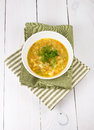 Free Yellow Pea Soup In Bowl On White Wooden Background Royalty Free Stock Photography - 30711687