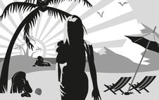 Silhouette Of A Woman On The Beach Under A Palm Tr Stock Photo