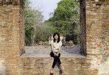 Beautiful Woman At Wat Maheyong Temple, Ayutthaya Province, Thai Stock Images
