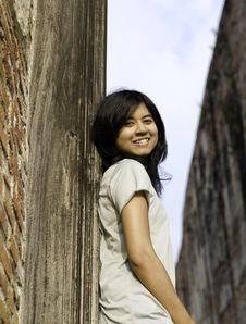 Young Girl At Wat Maheyong Temple. Ayutthaya Province - Thailand Stock Photo