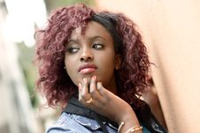 Free Beautiful Black Woman In Urban Background With Red Hair Stock Images - 30719044