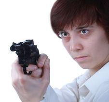Free Professional Woman With A Gun Royalty Free Stock Photos - 30719188
