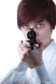 Free Professional Woman With A Gun Royalty Free Stock Image - 30719316