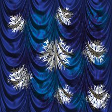 Curtain With Snowflakes Royalty Free Stock Photography