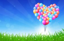 Heart Shaped Balloons Flying Stock Image