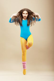 Aerobics. Gymnastics. Shapely Woman In Sportswear Stock Photos