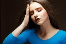 Free Distress. Woe. Upset Tired Woman Touching Her Forehead. Difficulties Stock Photography - 30728542