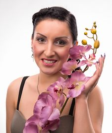 Free Young Woman With Beautiful Hairstyle And Pink Orchid Stock Images - 30729744