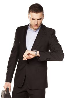 Free Businessman Looking At His Watch Royalty Free Stock Images - 30730629