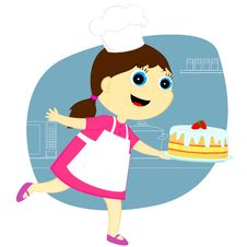 The Girl With The Cake Royalty Free Stock Photos
