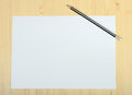 Free Blank Page Of Paper And Sharpened Pencil On Wooden Floor Stock Photos - 30741803